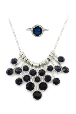 silver black crystal necklace