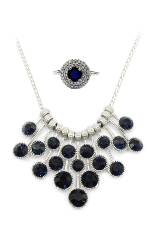 big sun flower crystal earrings necklace  set