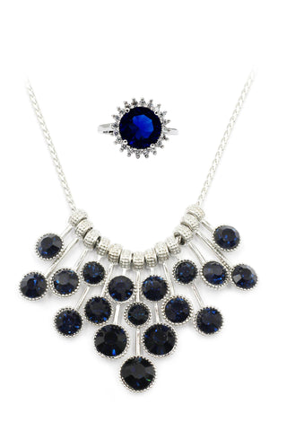 fashion inlaid crystal earring necklace set