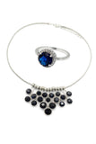 dark blue crystal ring necklace set