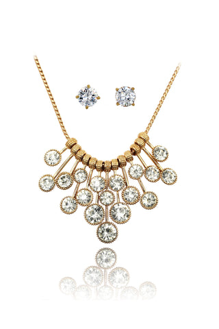 fashion rhombus color crystal golden necklace