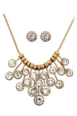 gold clavicle inlaid crystal necklace earring set