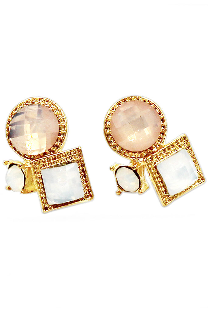 fashion golden rim crystal ball earrings