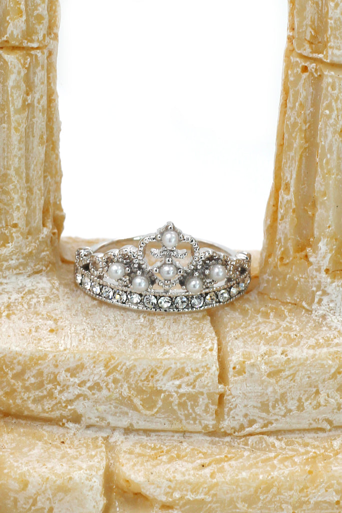 little pearl crystal crown silver ring