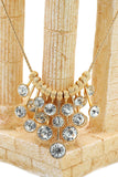 golden elegant crystal earrings necklace set