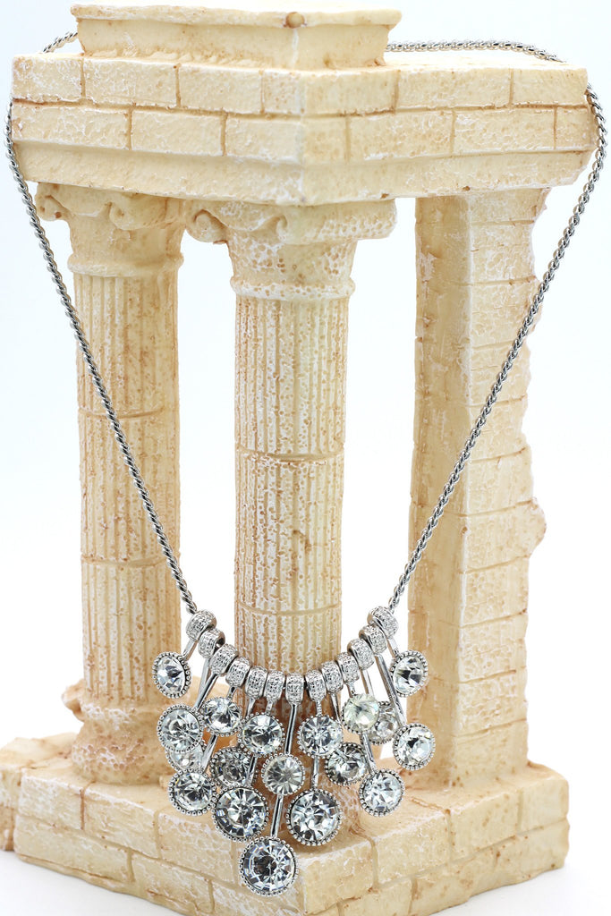 silver noble crystal earrings necklace set