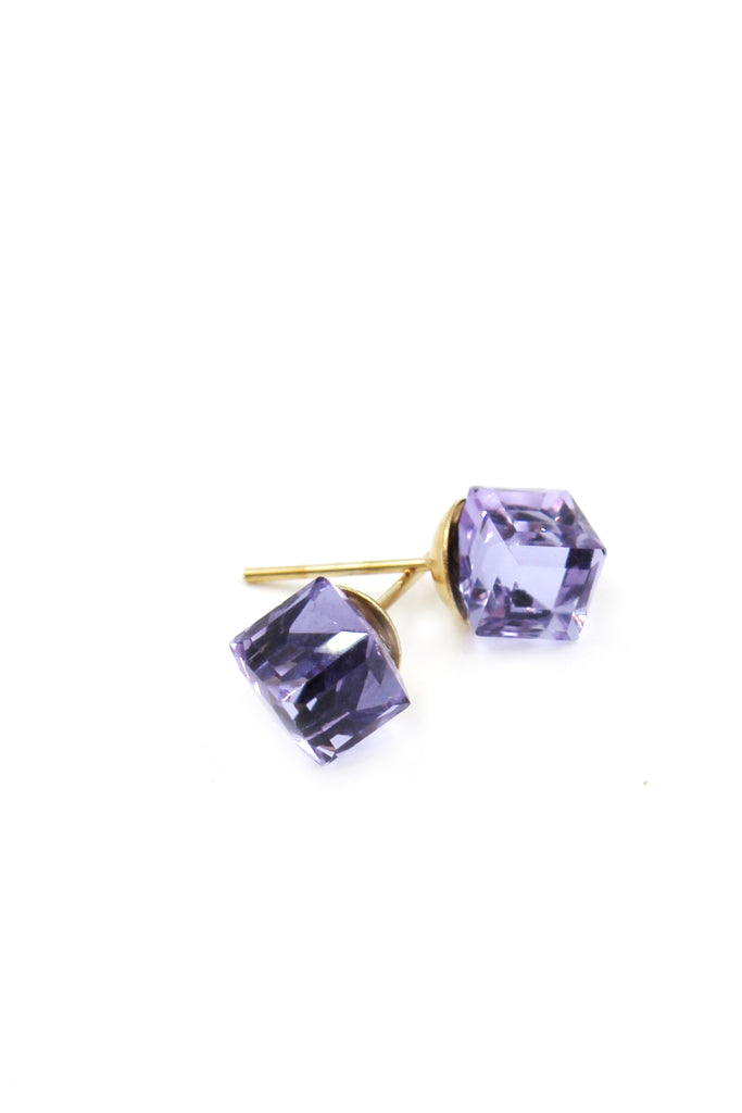 square crystal stud earrings set