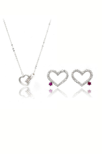 cute heart shaped crystal earrings necklace set