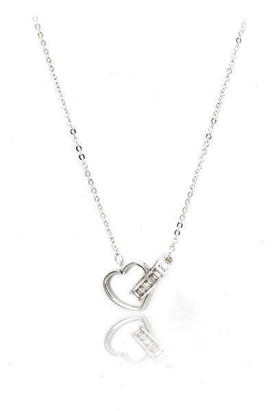 silver double heart crystal necklace