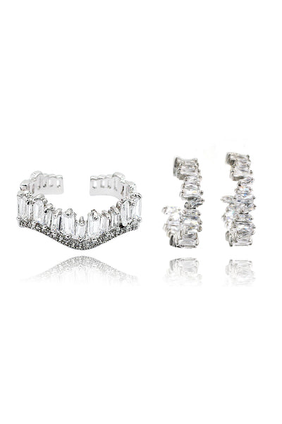 rectangular crystal ring earrings set