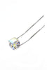 Mini sliver square crystal necklace