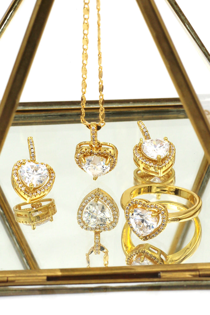 love heart crystal gold three piece set
