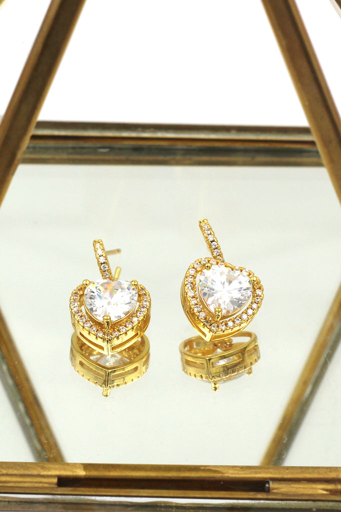golden shiny crystal heart earrings