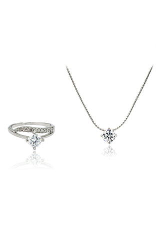 zircon crystal pendant necklace ring set