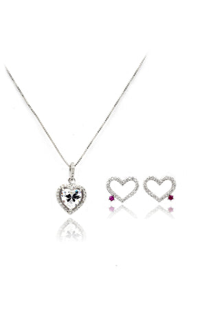 silver prism necklace earrings crystal set