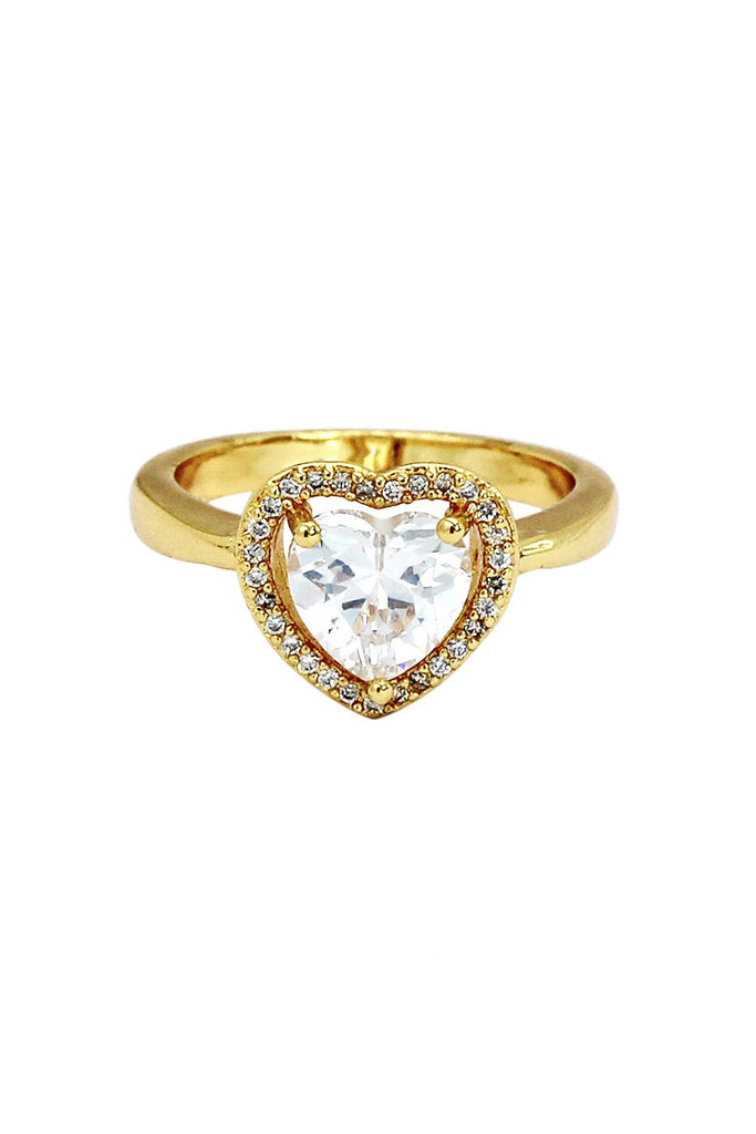 golden shiny crystal heart ring