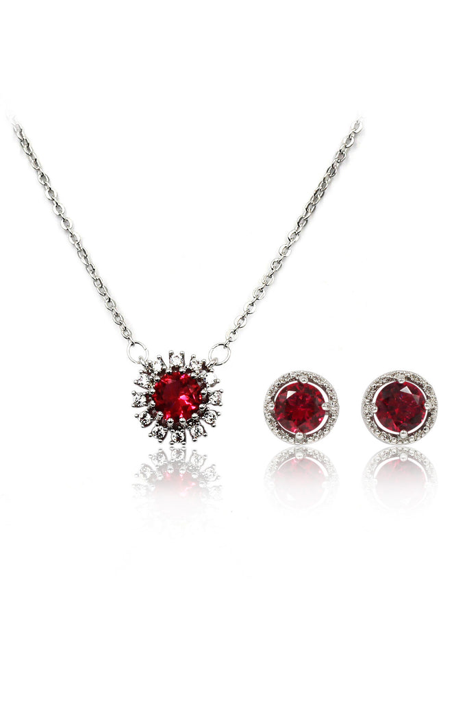 simple red crystal necklace earrings set