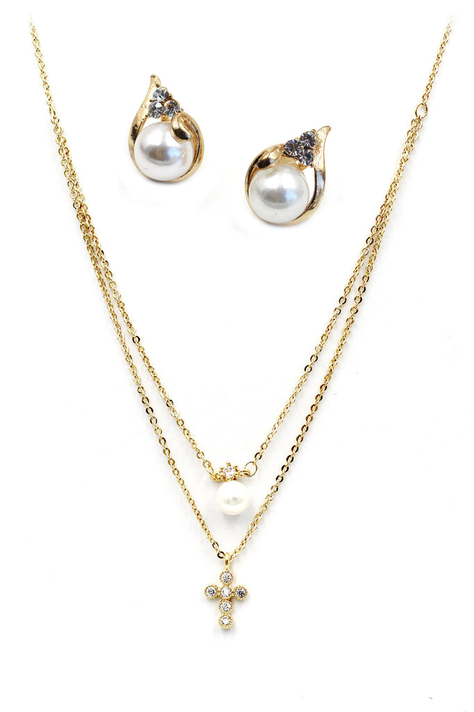 mini cross pearl necklace earring set