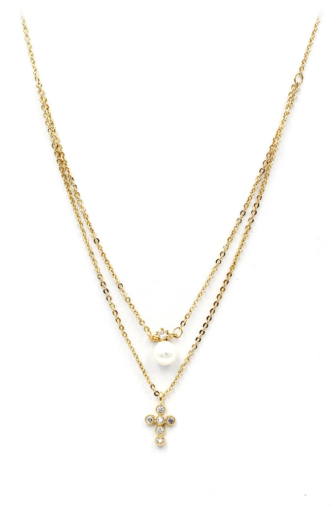 duplexes mini crystal cross pearl necklace