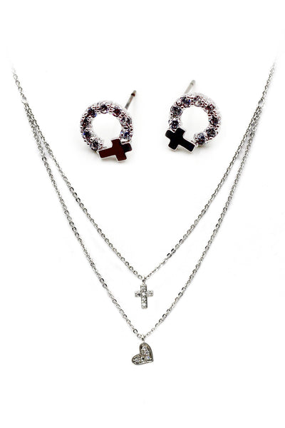 small cross crystal earring necklace set