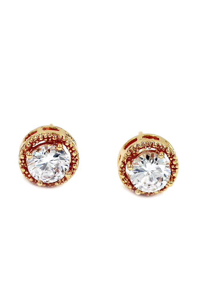 round gold crystal earrings