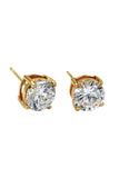 four claw inlaid crystal gold earrings