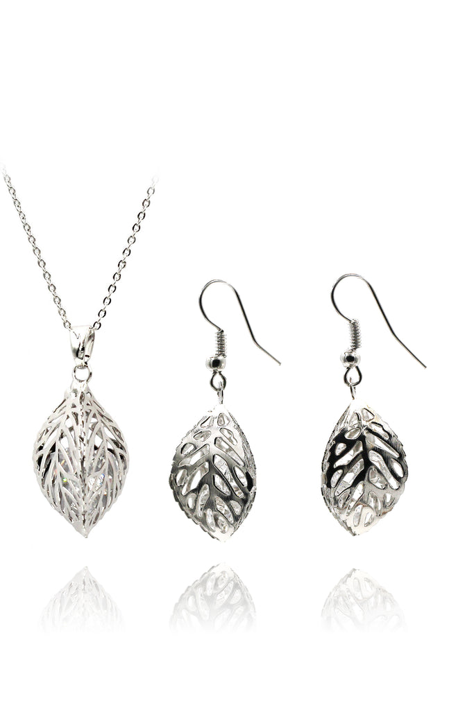 hollow crystal leaf earring necklace set