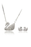 white swan crystal necklace earring set