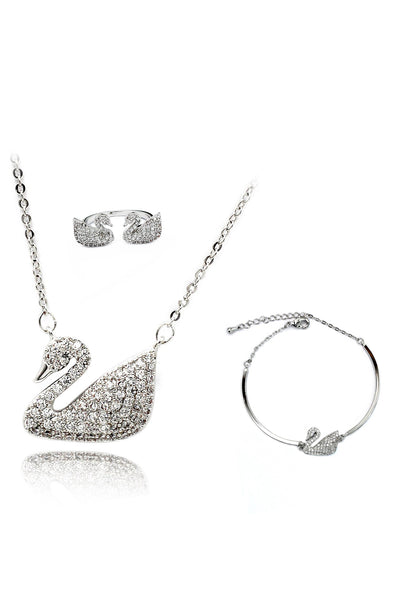 eashion Inlaid Crystal Swan Clavicle Necklace Ring Set