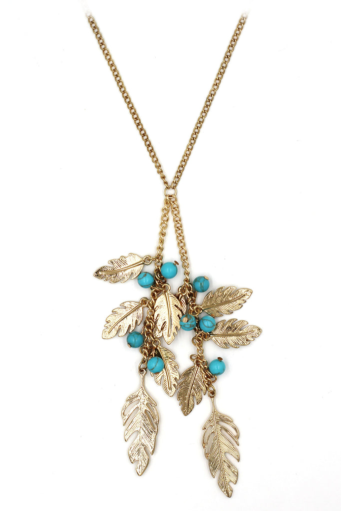 pendant golden leaves and beads sweater necklace