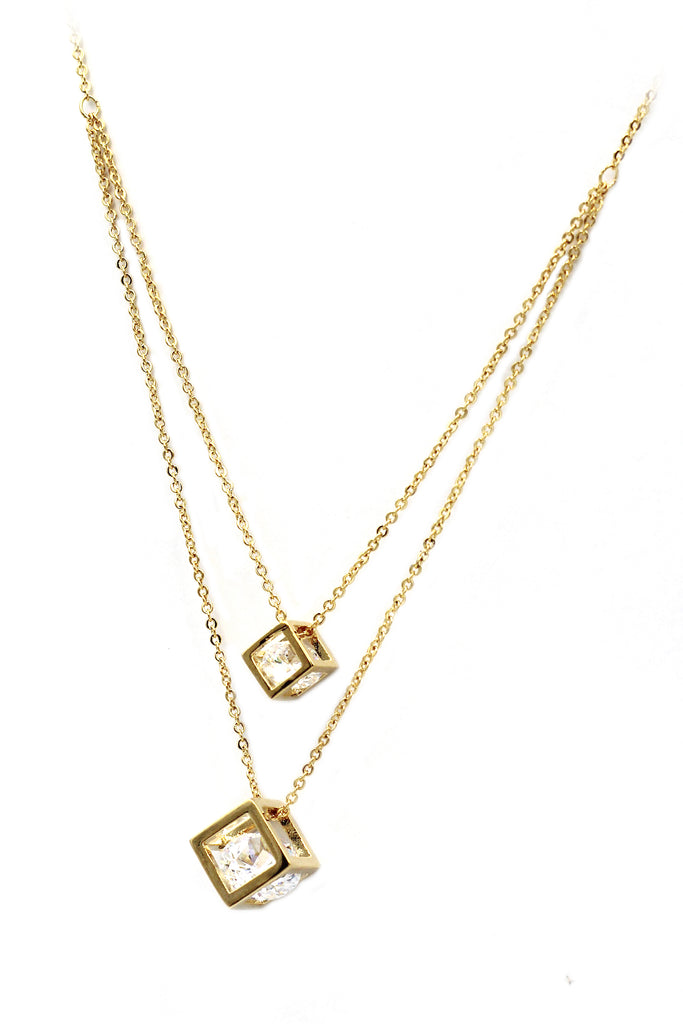 duplexes cubic crystal necklace