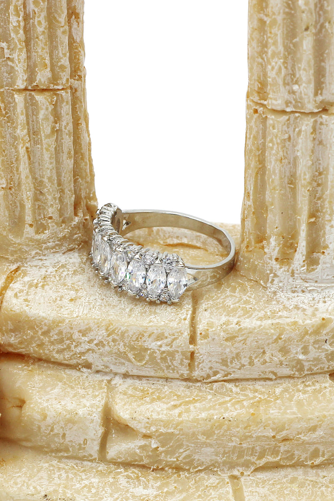 sparkling candy crystal silver ring