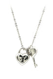 ladies heart lock and key silver necklace