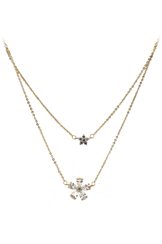 duplexes mini flowers crystal necklace