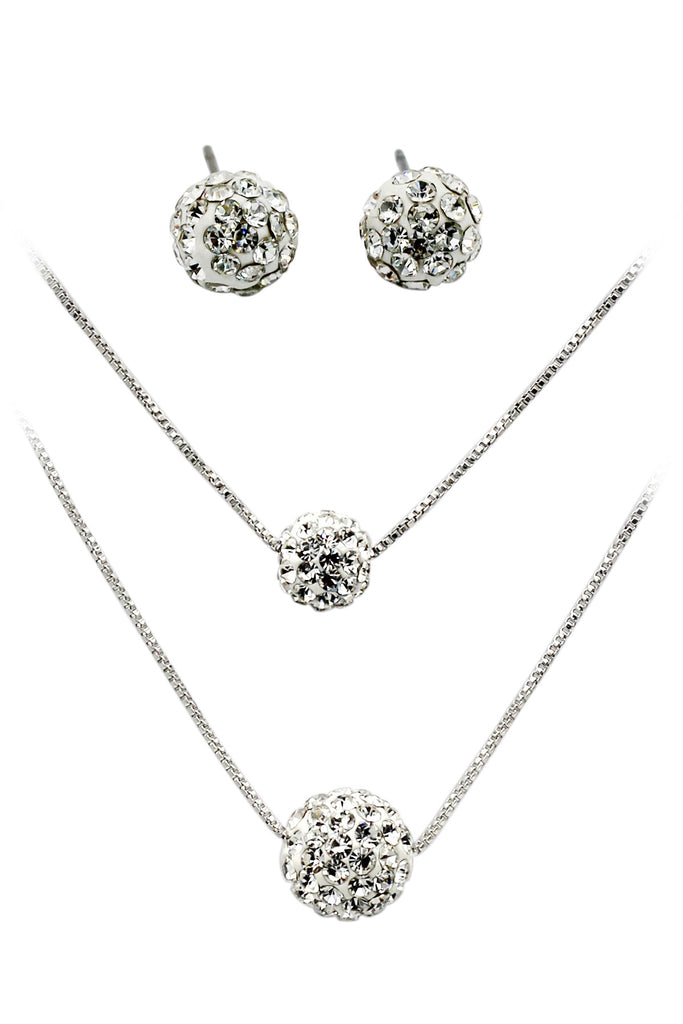 lady double chain crystal ball set