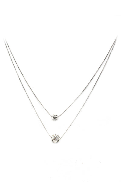 lady double chain crystal ball necklace