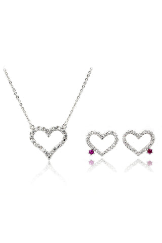 mini crystal bow earrings necklace set
