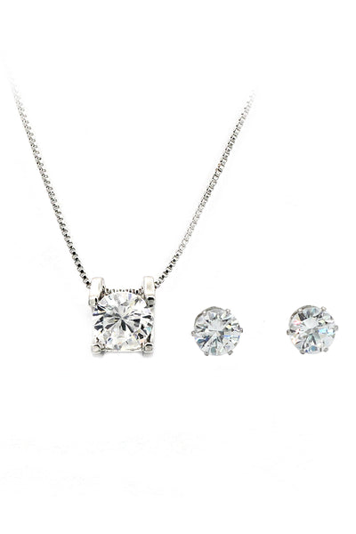 single crystal silver necklace earrings set