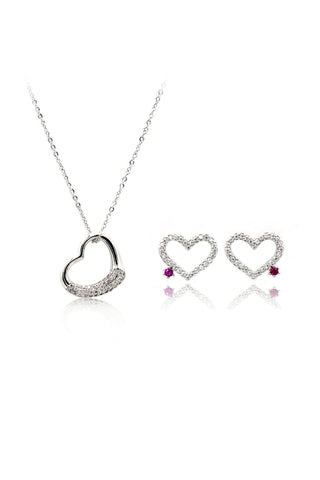 simple shiny crystal earrings necklace set