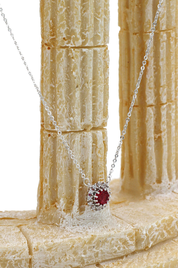 red small crystal open ring necklace set
