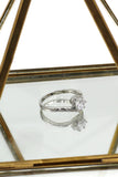fashion wave bare crystal fine silver ring