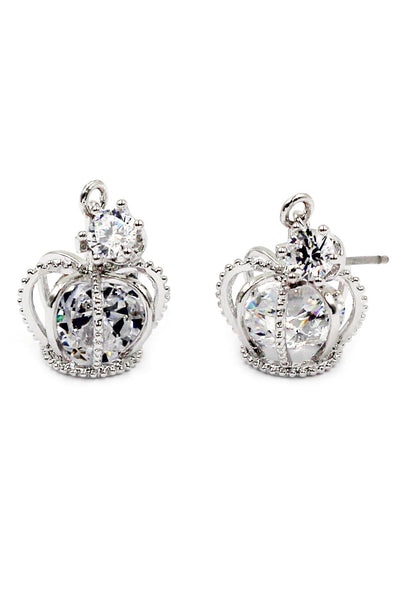 fashion mini crown crystal earrings