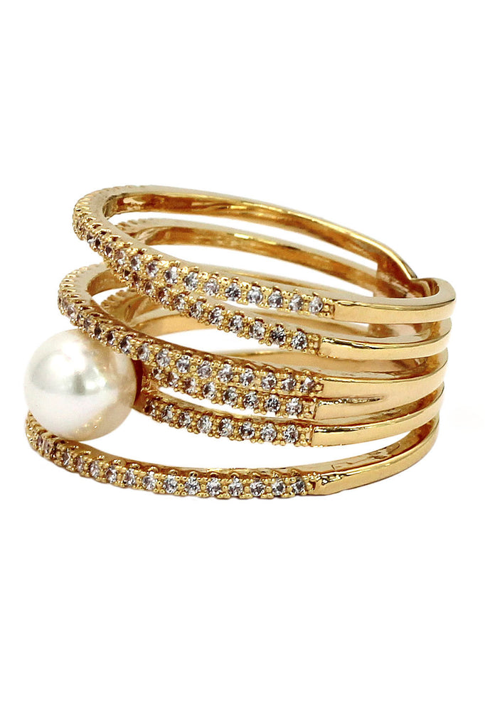 micro pave small crystal sparkling pearl ring