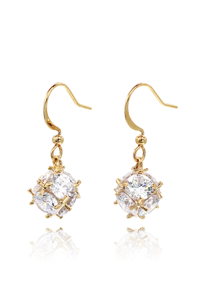 lady crystal ball earrings