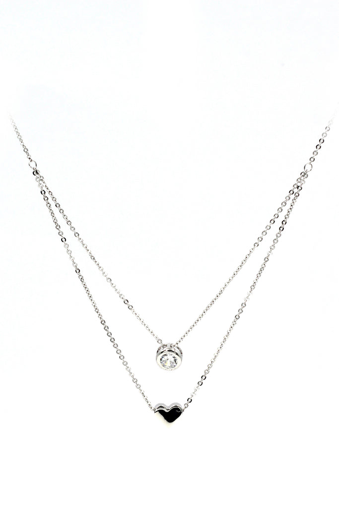 small love circle crystal necklace