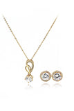 golden elegant pendant earring necklace set