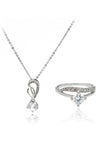 shiny four prong crystal ring necklace set
