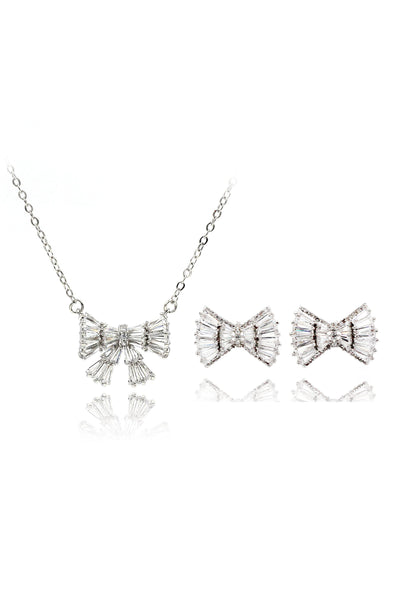 bow crystal necklace earrings set