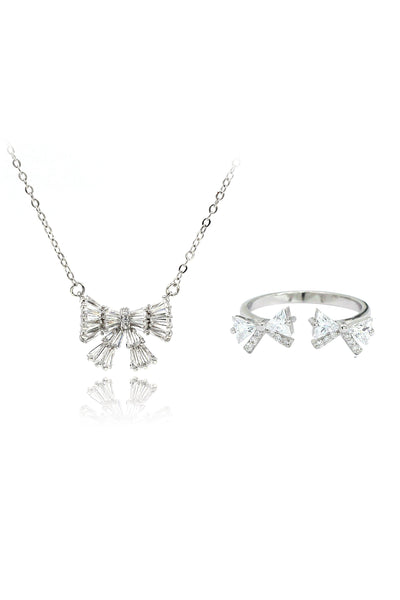 cute bow crystal ring necklace set