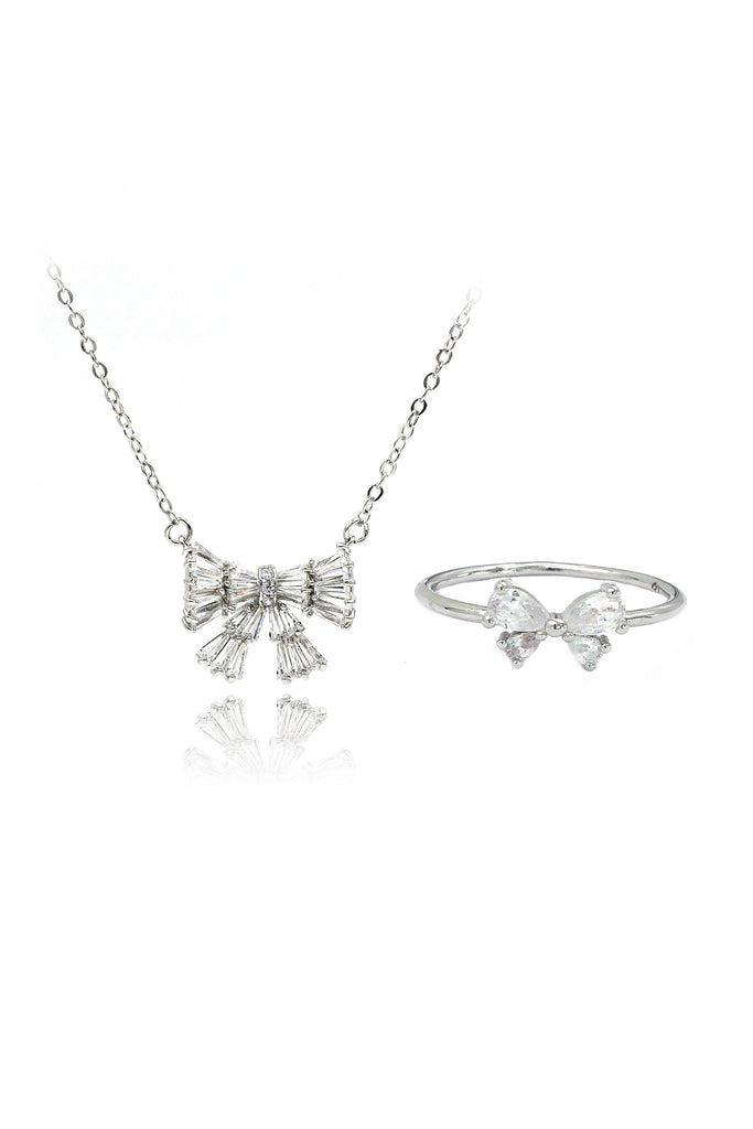 Fashion bow crystal ring necklace set